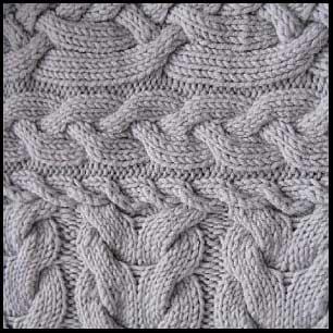 женское вязаное пальто с косами