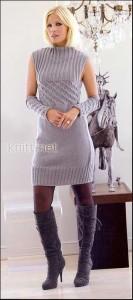 Мини платье с нарукавниками