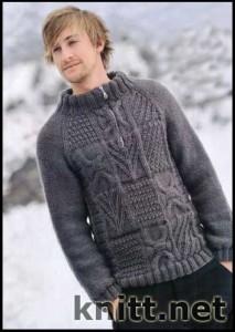 серый пуловер для мужчины