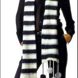 Полосатый шарф с помпонами