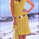 Ажурное желтое платье и сумка-мешок