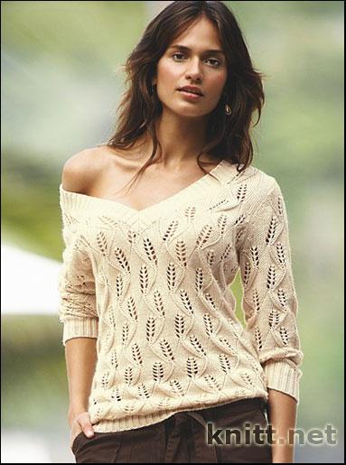 Ажурный Пуловер С Глубоким Вырезом
