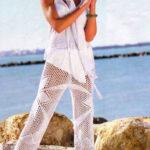 Белые брюки крючком