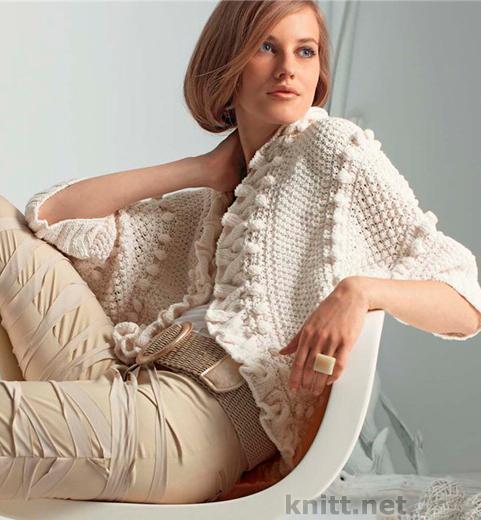 Вязаное спицами женское болеро