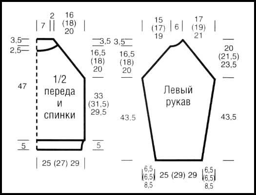Одновременно от наборного края прибавить для скосов рукава с.