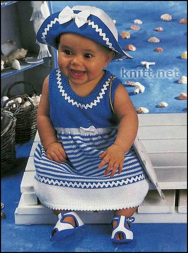 Платье крючком в морском стиле детское