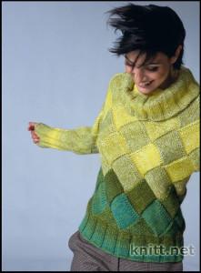 Женский пуловер с ромбами