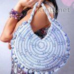 Голубая круглая сумка