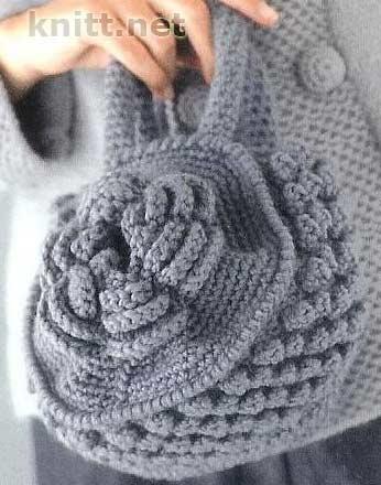 маленькая круглая сумка-цветок вязаная - Сумки.