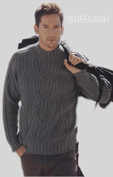 Мужской пуловер-реглан серого