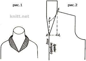 Шалевый воротник с острым  вырезом горловины