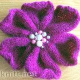 Сиреневый цветок спицами