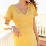 Жёлтое ажурное платье