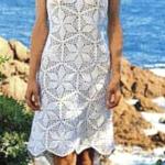 Ажурное белое платье крючком