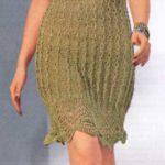 Ажурное оливковое летнее платье