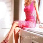 Ажурное яркое платье от груди