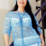 Ажурный комплект спицами: пуловер и берет