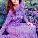 Ажурный комплект юбка и джемпер сиреневого цвета