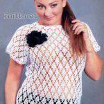 Ажурный пуловер-реглан белого цвета