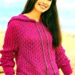 Ажурный спортивный пуловер спицами