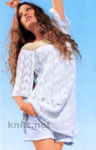 Белый летний пуловер