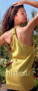 Летняя желтая туника спицами