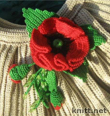Красный вязаный крючком мак - украсит и дополнит собой Ваш неповторимый...