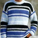 Мужской вязанный спицами пуловер