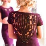Платье винного цвета с открытой спиной крючком