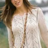 Пуловер с завязками спицами