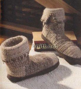 Теплые полусапожки крючком. Милые и удобные, приятные в носке- сапожки обрадуют любую женщину.