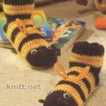 Вязанные крючком тапочки «Пчелки»