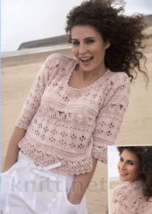 Вязанный ажурный пуловер