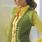 Зеленый вязаный женский жилет