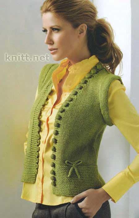 Вязание модного делового женского жилета