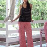 Женские вязанные крючком брюки