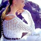 Белый ажурный пуловер с длинными рукавами
