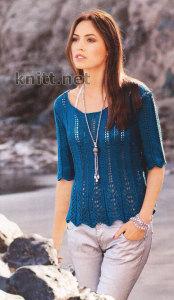 Пуловер с баской и ажурными полосами