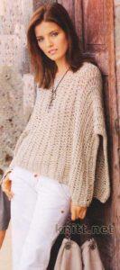 Пуловер связанный поперёк