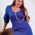 Синее платье (на вязальной машине Silver)