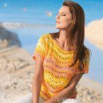 Яркий пуловер с узором волна