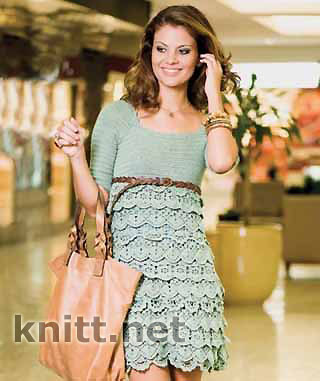 Ажурное женское платье крючком