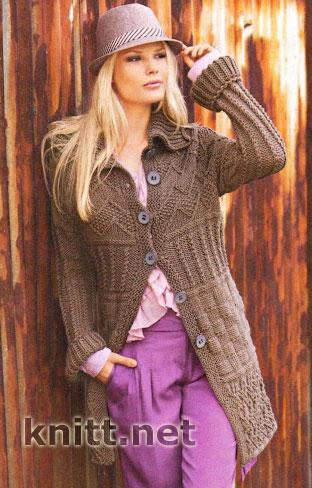 Короткое коричневое пальто