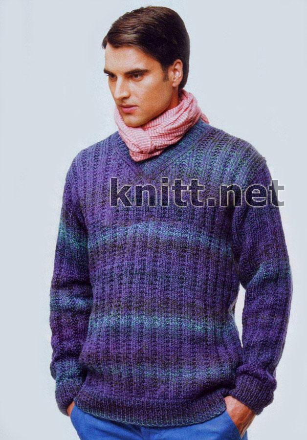 пуловер с V-образным воротником
