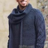 синий пуловер и шарф
