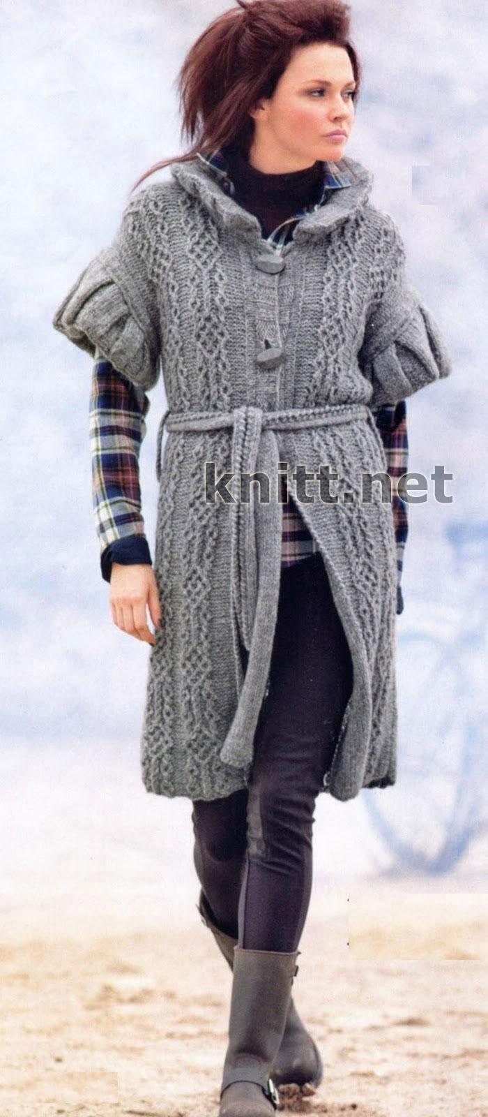 Пальто-жилет с поясом