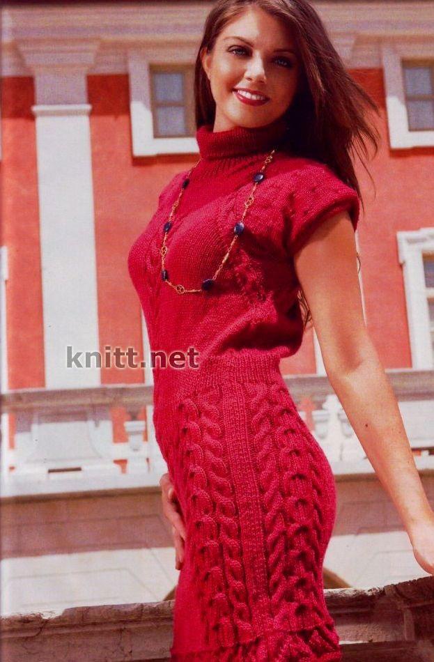 Платье-чулок с узором из кос