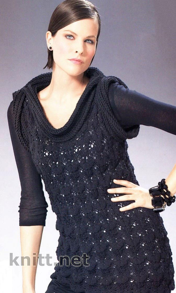 Платье-туника с экстравагантным воротником