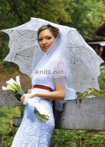Вязанный ажурный зонтик