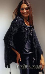 Жакет с лентами вязанный спицами